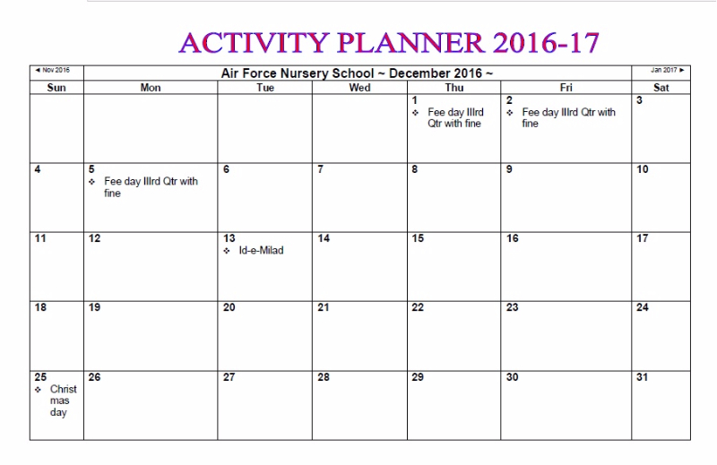 Activity Planner Nursery School