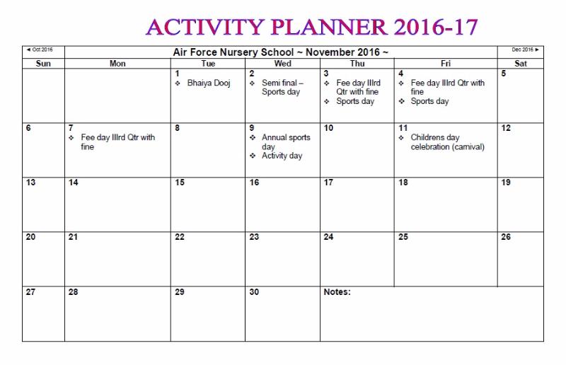Calendar Ideas Nursery : Activity planner nursery school