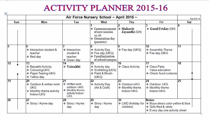 Activity Planner Nursery School